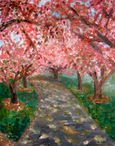 A painting inspired by the walkway at the Brooklyn Botanic Garden last spring.